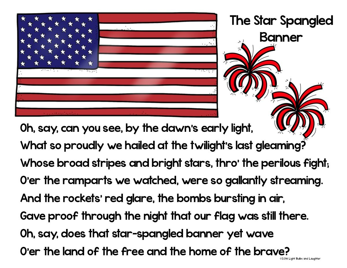 graphic about Words to the Star Spangled Banner Printable identified as The Star Spangled Banners 200th Birthday! Clroom