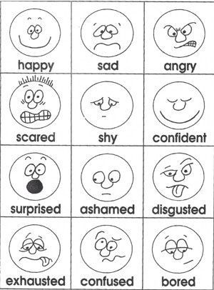 emotions - Feelings Coloring Pages Printable
