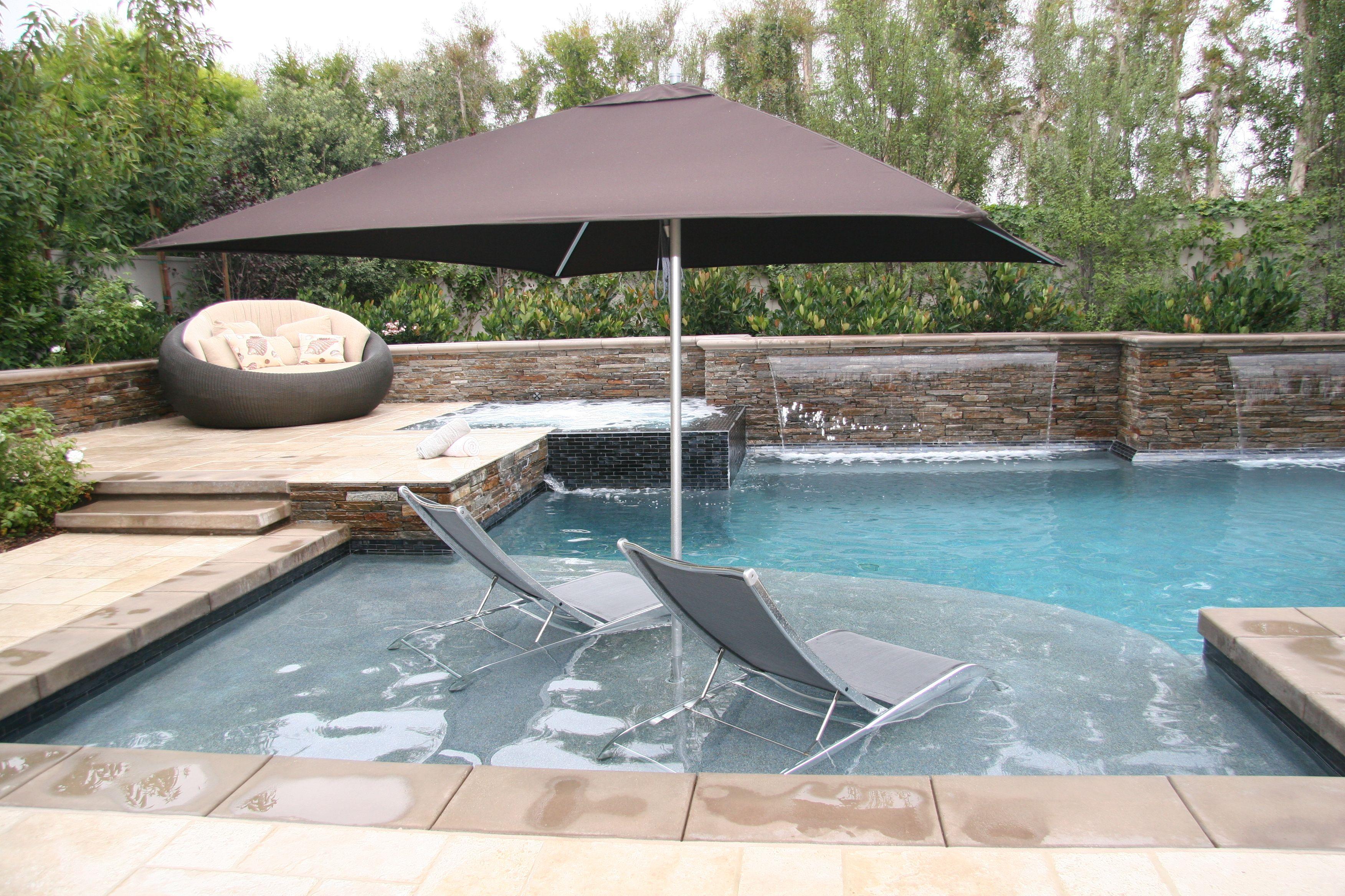 Lounge Chairs And Umbrella On Baja Shelf Cardin Beach In