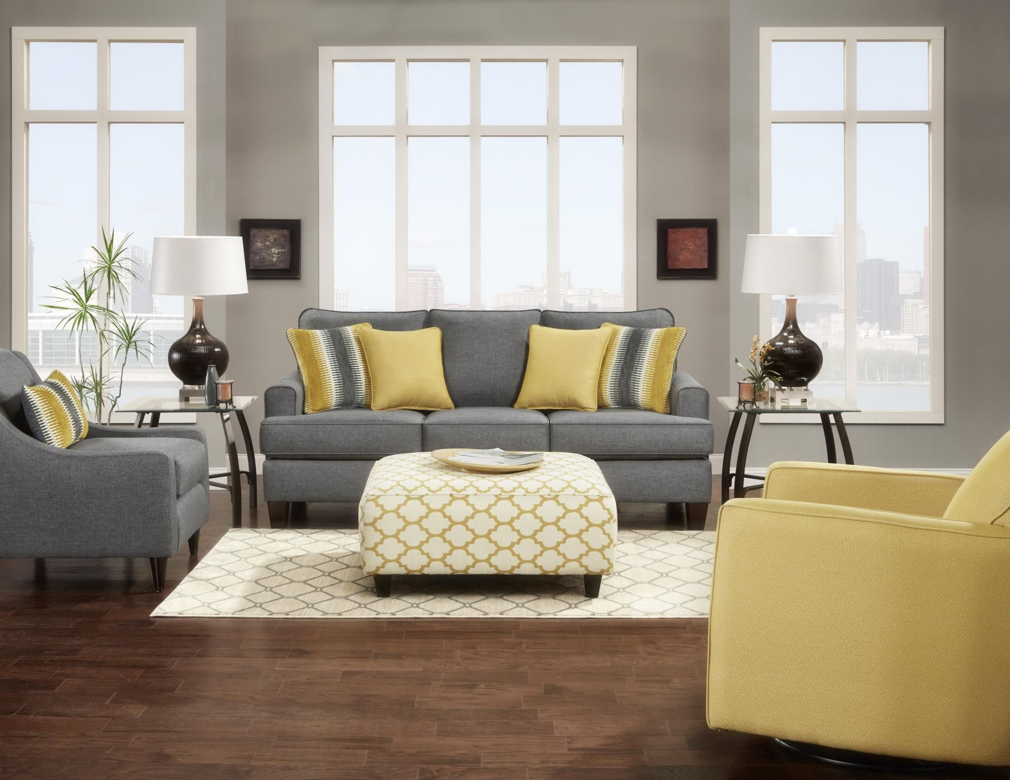 Maxwell Grey Sofa And Love Seat Matching Accent Chair