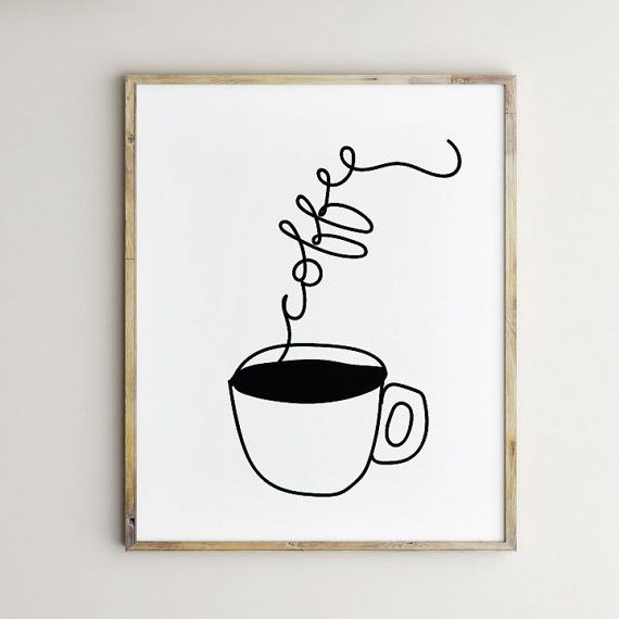 Coffee Artwork Print Art Printable Design Kitchen Wall Cup