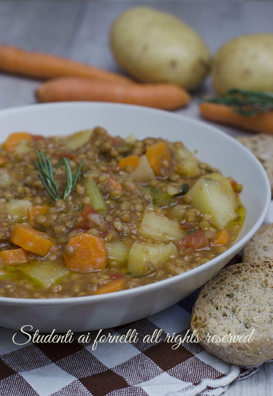 Zuppa Di Lenticchie E Patate Con Carote Cremosa E Veloce Ricetta Ricette Ricette Vegetariane Zuppa Di Lenticchie