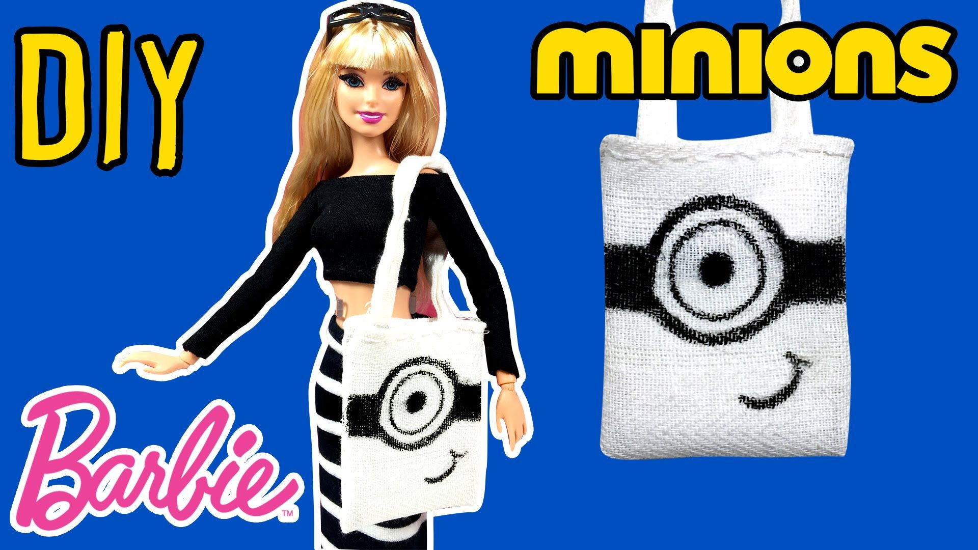 DIY How to Make Barbie Doll Minions Bag Barbie Tote Bag