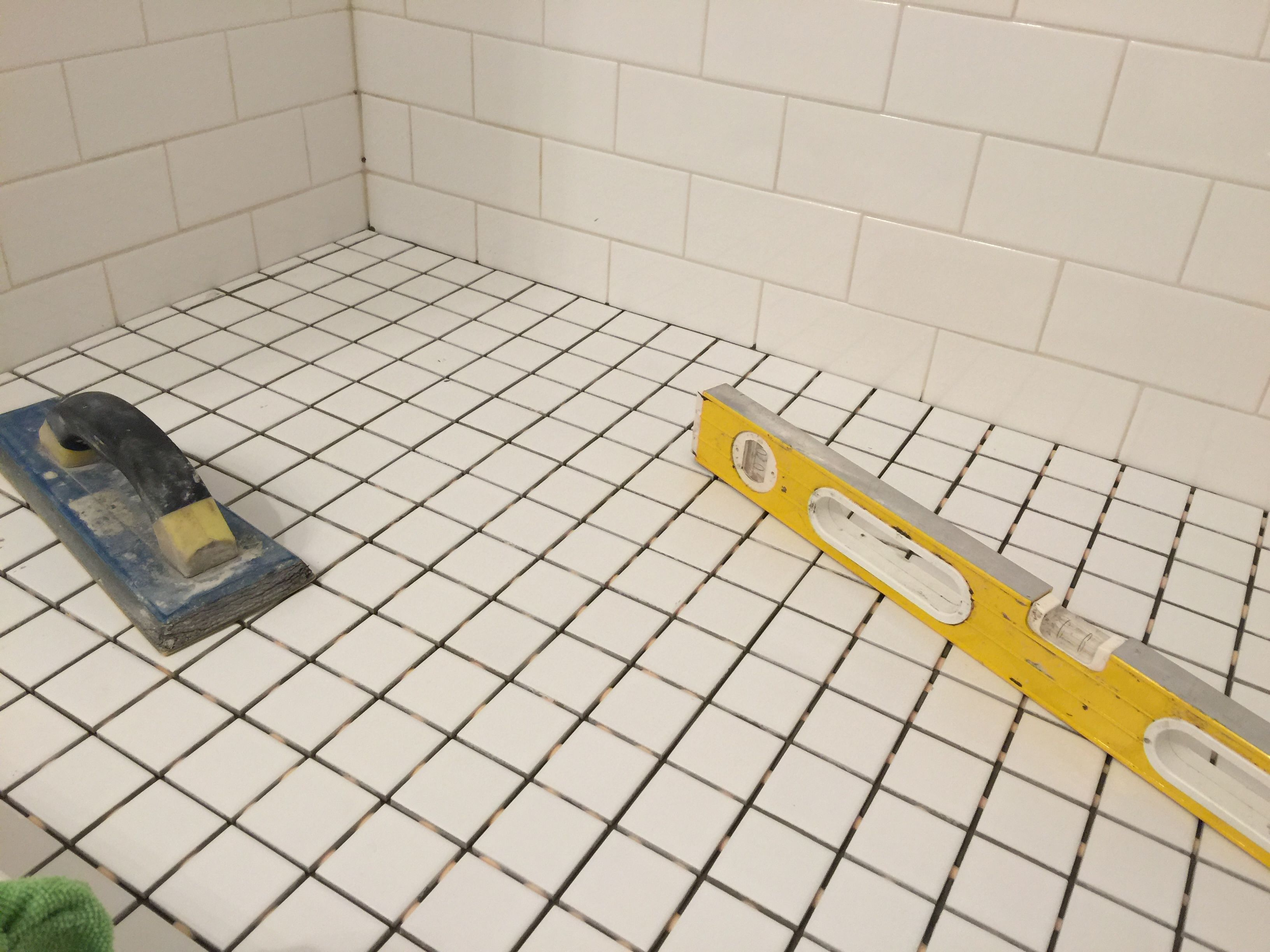 Using A Level We Can Create Proper Drain Slope Epoxy Bond Grout Is Used At All Shower Floors Never Needs Sealing And Wi Shower Floor Grout Repair Shower Pan