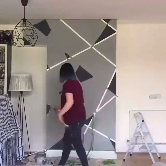 Faux Painting with Tape -  🔥A little bit of painters tape makes it interesting 😃 #fauxpainting #homedecor #mancave  - #Faux #Painting #quarto #Tape