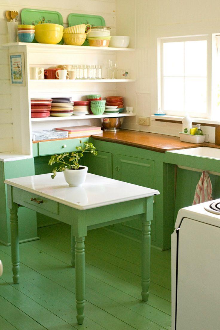 cocinas casas rsticas decoracin hogar hogares hermosa originales muebles mesas cocina verde manzana