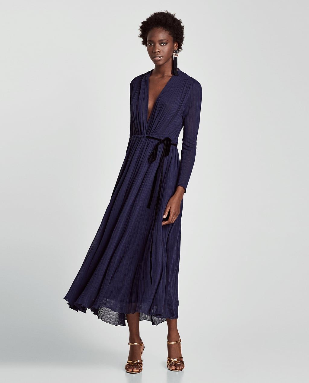 image 1 of crossover dress with belt from zara | kleider