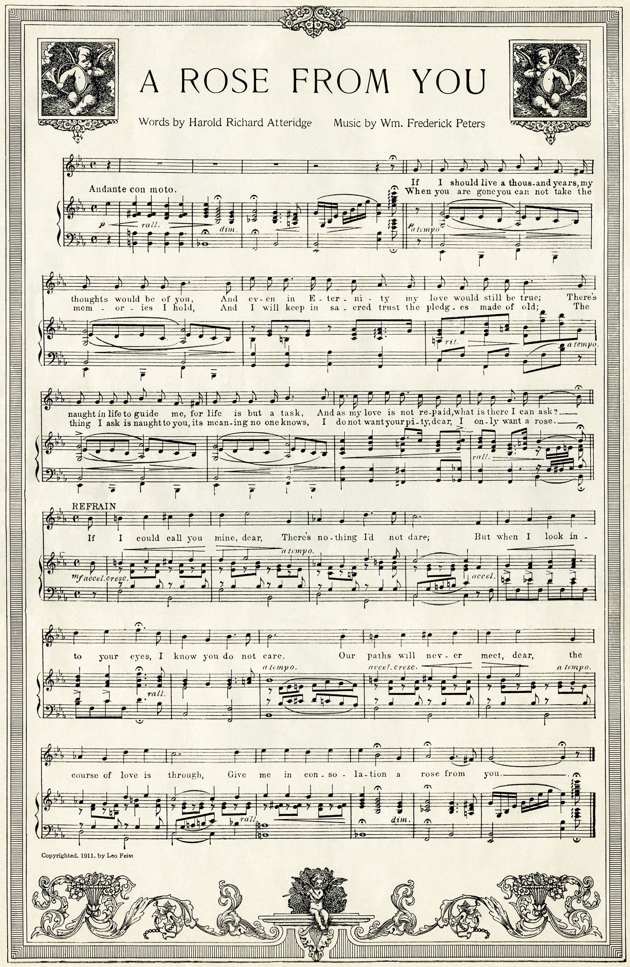 Free Vintage Image A Rose From You Sheet Music Old