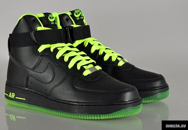 premium selection 9358b 5221f Nike Air Force 1 High - Black Volt Pack. High contrast!