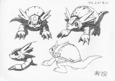 Armadillomon  Katsuyoshi Nakatsuru's (中鶴 勝祥) character designs from Digimon Adventure (I believe) & the 1st Digimon 02 movie.