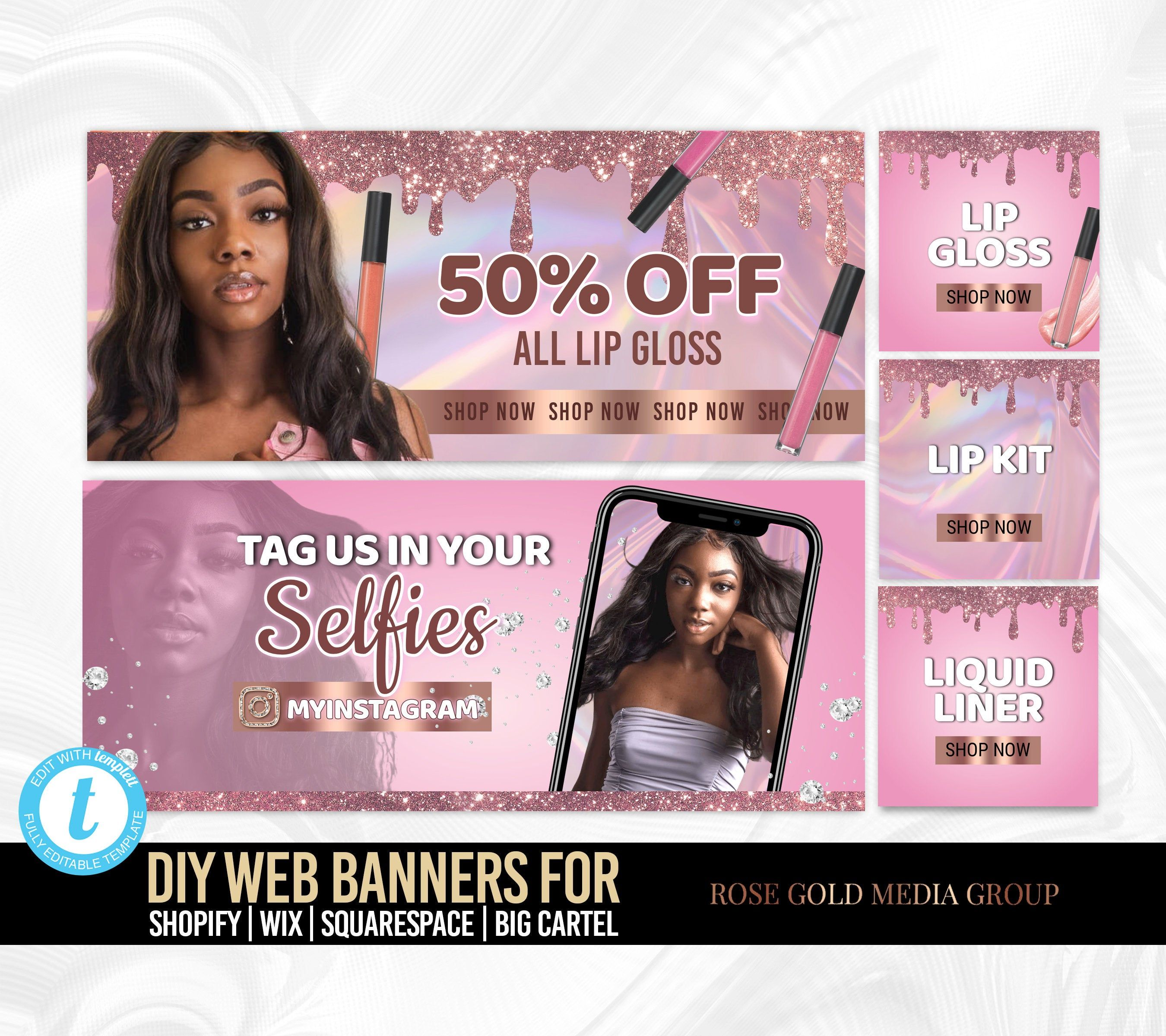 Gold black Hair Brand DIY Web banners Add web banners to your Shopify or wix website