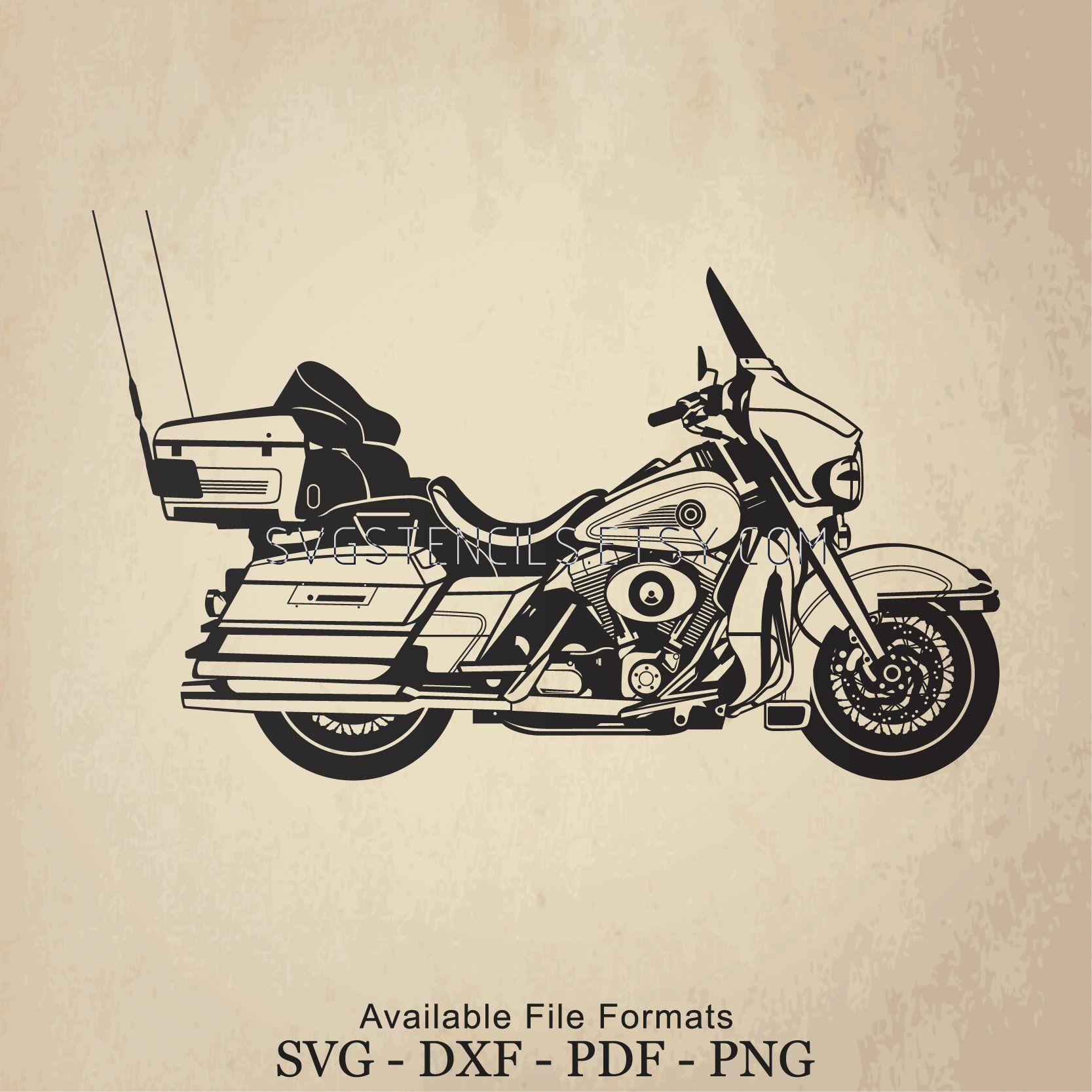 Svg Harley Motorcycle Electra Glide Stencil Silhouette Etsy Motorcycle Harley Harley Royal Enfield