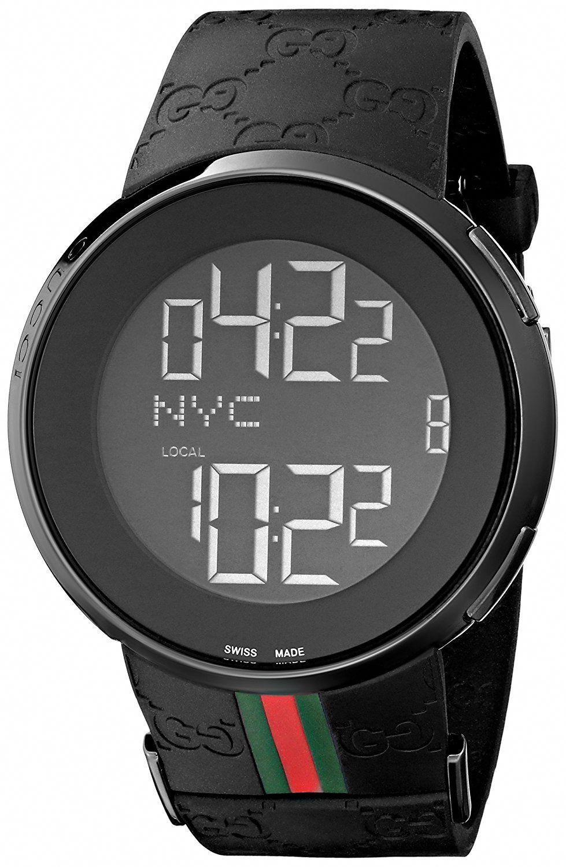 a1797a69b545 Gucci I Gucci Collection Men's Digital Watch with Black Dial Digital  Display Black PVD Case and Black Rubber Strap YA114207 #digitalwatchfashion