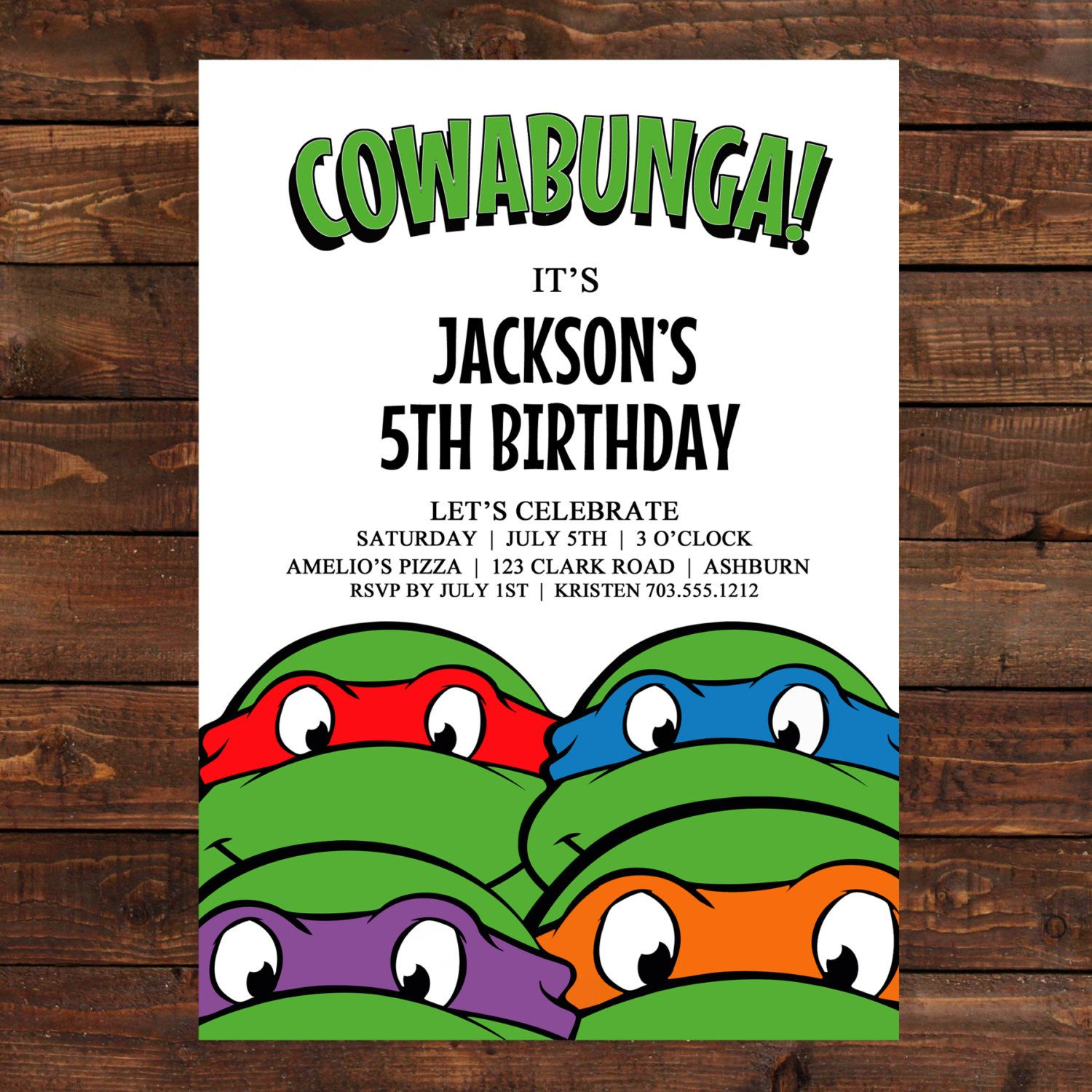 Teenage Mutant Ninja Turtles Birthday Party Invitations ...