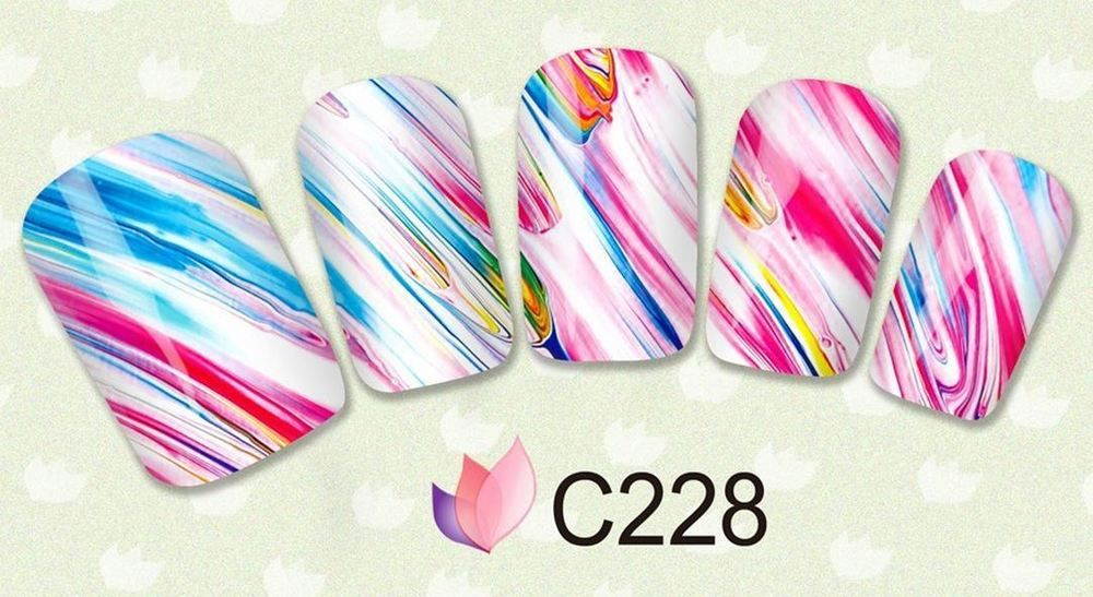 Watercolor Nail sticker DIY colorful art decal 1 sheet fingernail manicure #Unbranded