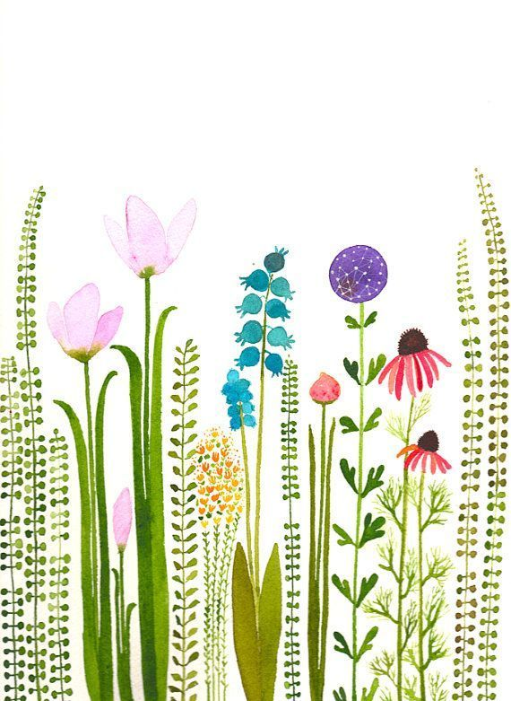 SALEcolorful garden original watercolorSALE von zuhalkanar auf Etsy #watercolorarts #botanicgarden