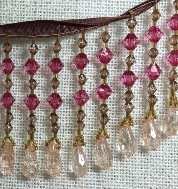 Rose Pink Beaded Fringe  Rose and Champagne von supplysideeconomics