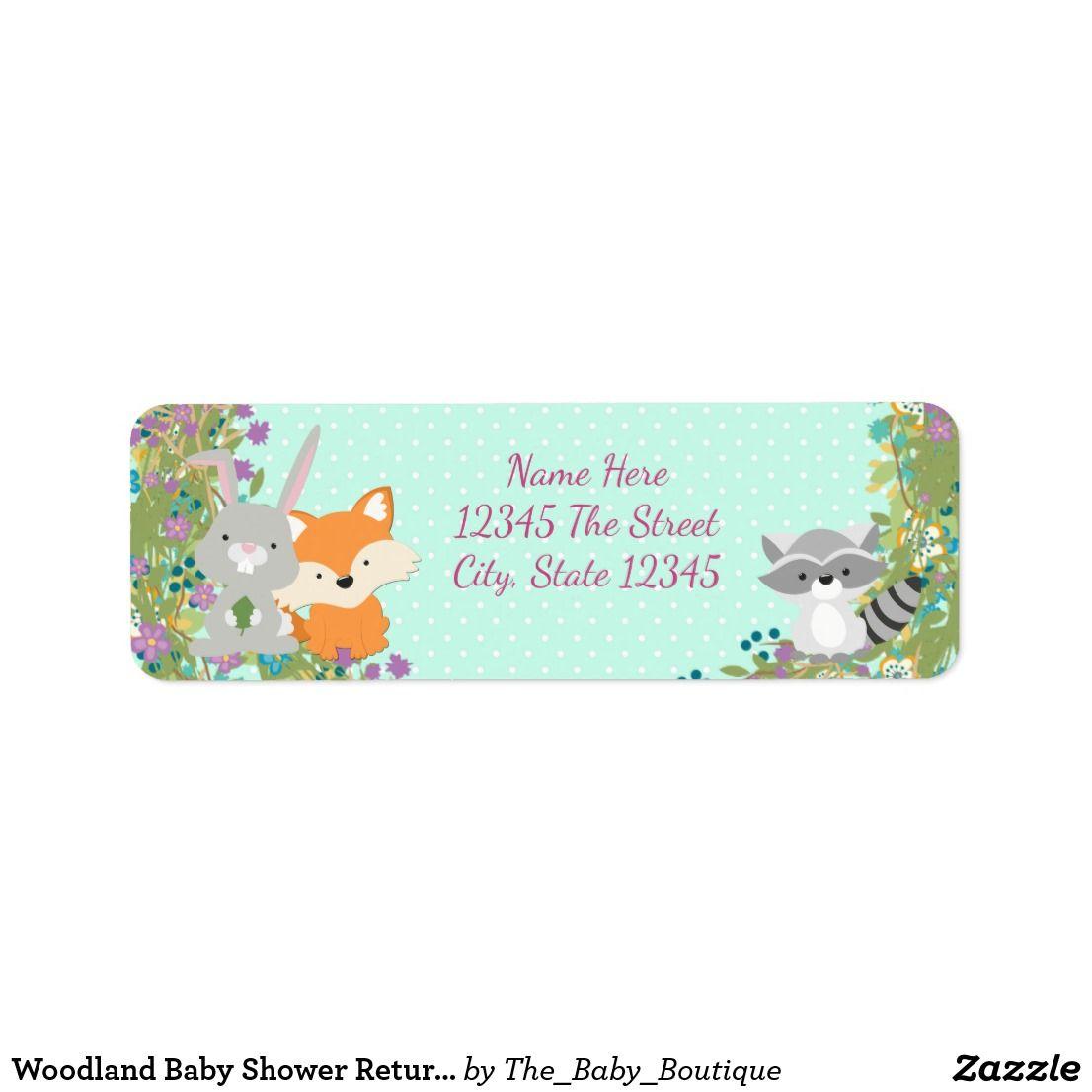 Woodland Baby Shower Return Address