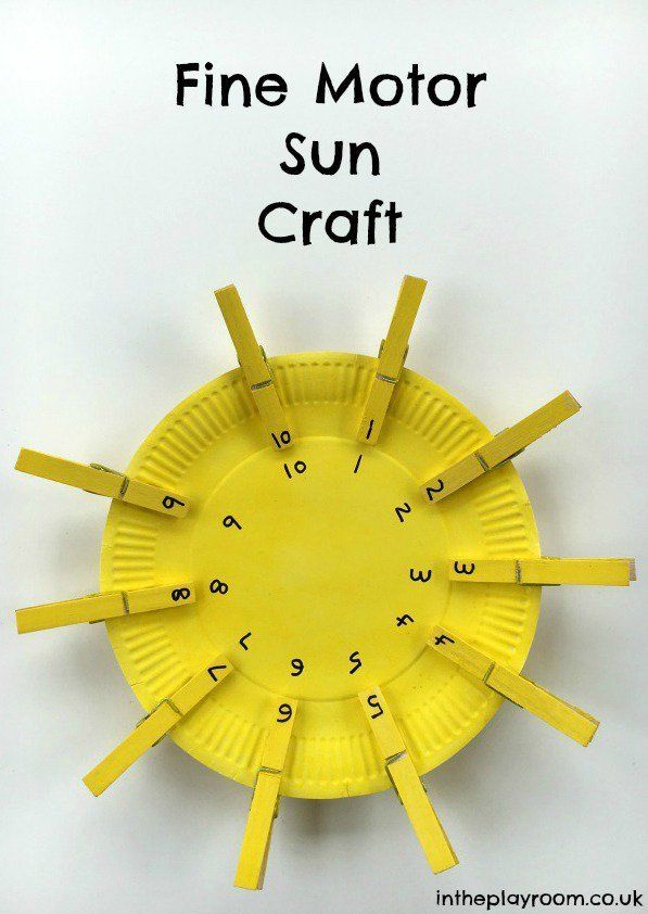 Fine motor sun craft to work on number matching number for Small motor activities for infants