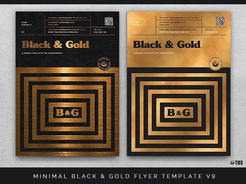 Minimal Black And Gold Flyer Template V9 Flyer template, Minimal - black flyer template
