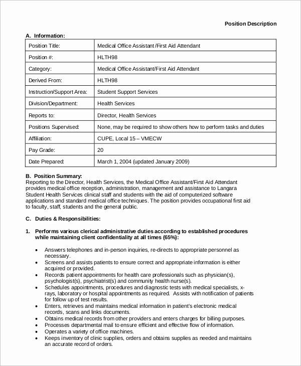 Medical Office Assistant Job Description Resume Beautiful