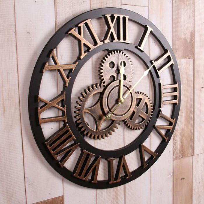Grande Horloge Murale Effet Magnifique Du Metal Clock Large