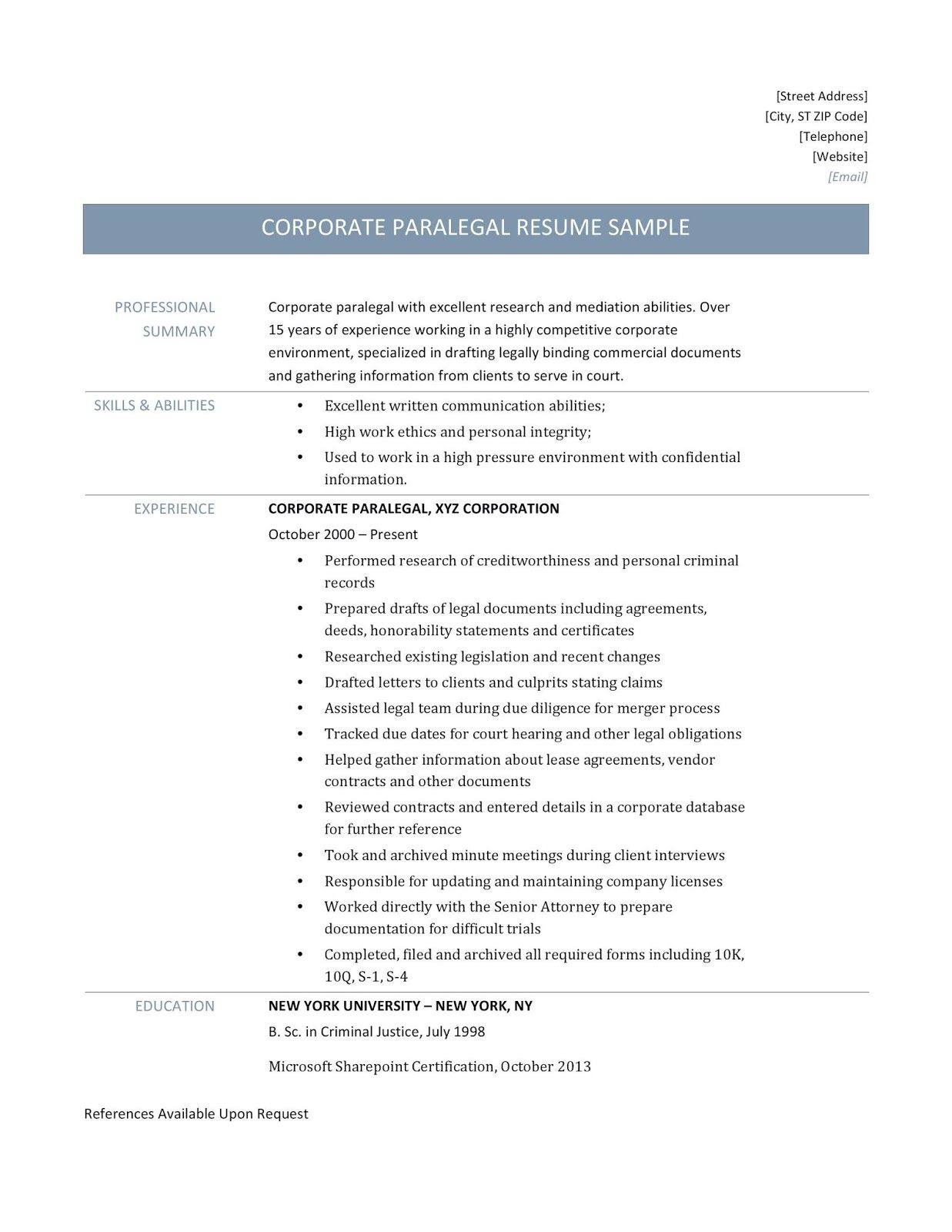 paralegal resume sample, paralegal resume samples