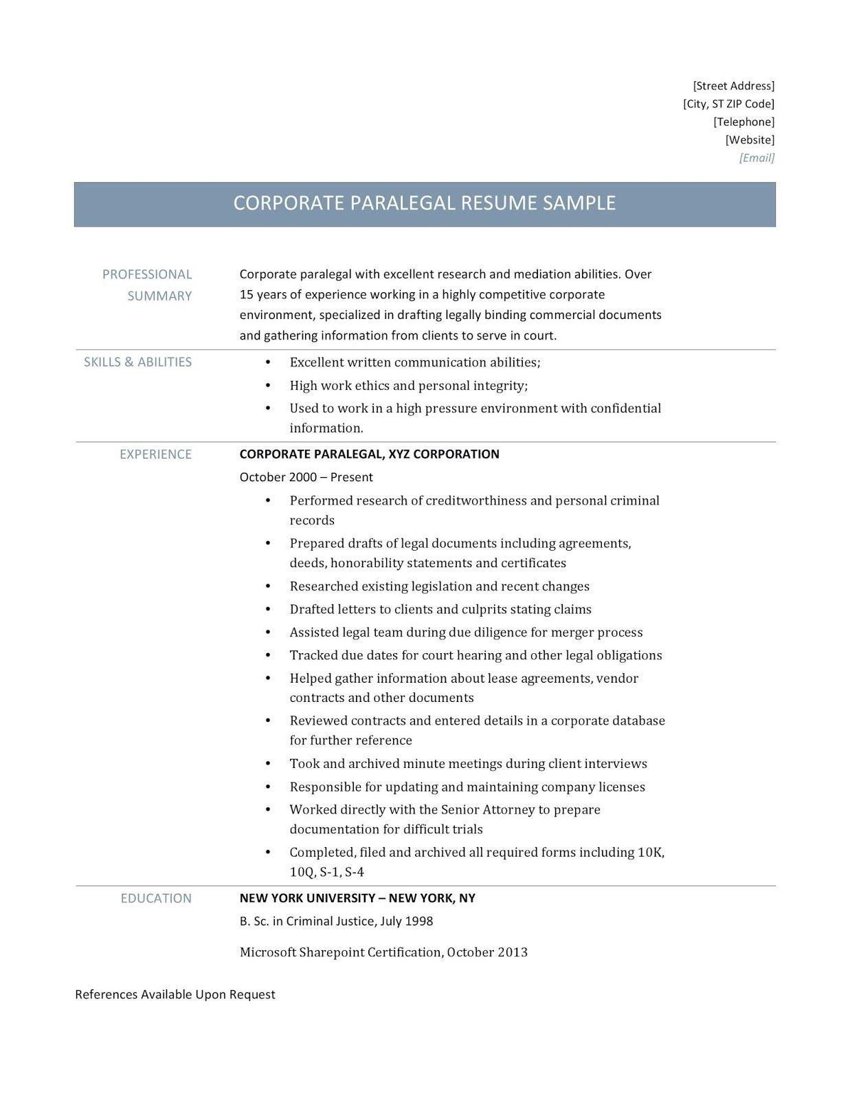 paralegal resume sample, paralegal resume samples