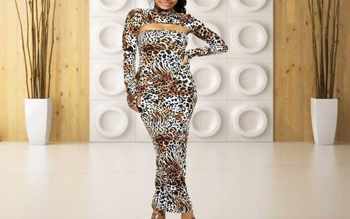 Leopard Longs Sleeve Body Dress - M