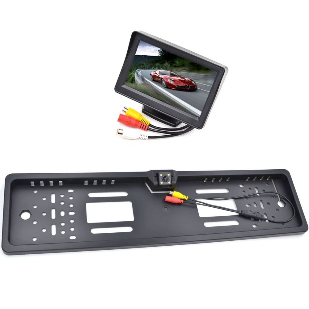 EU European License Plate Frame Night Vision Rear View Camera Black ...