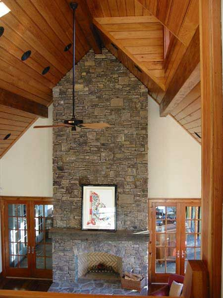 Cathedral Ceiling And Stone Fireplace Wood Ceiling