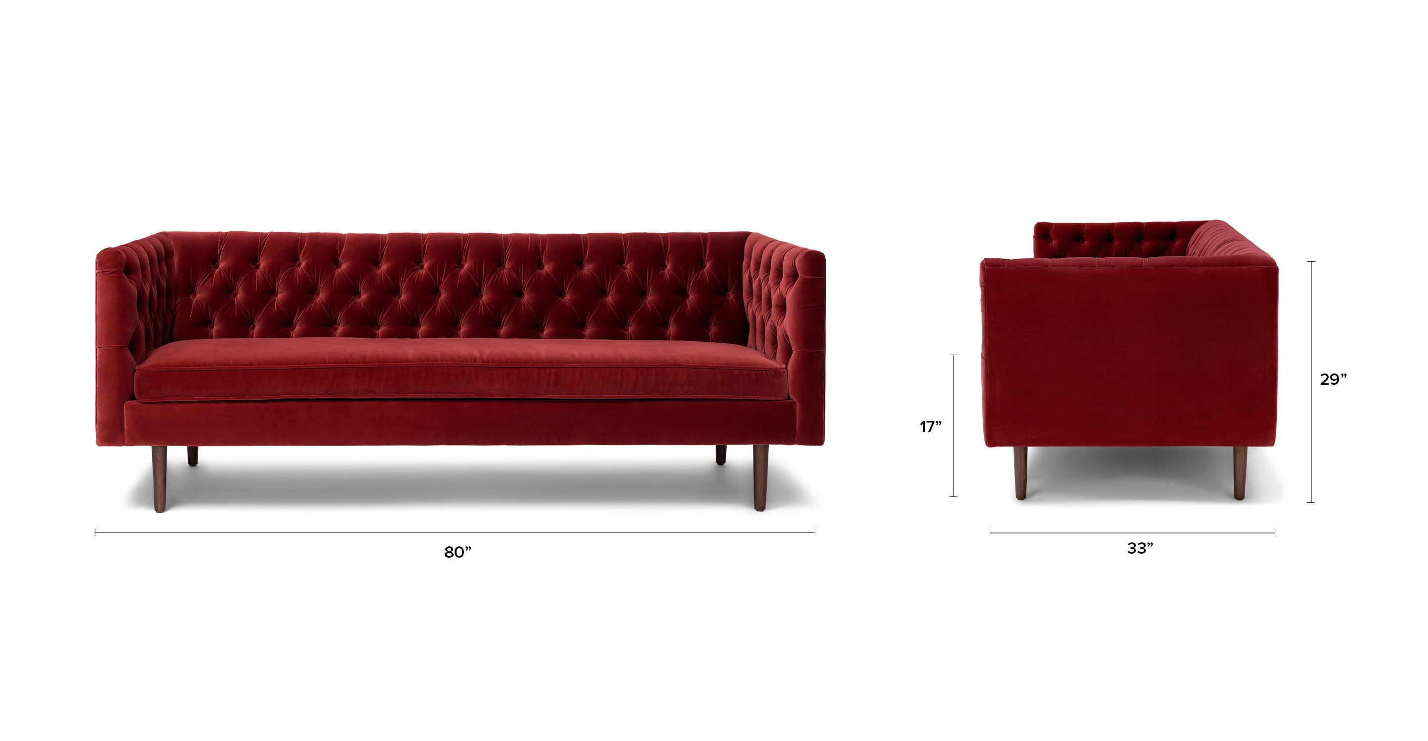 Red Velvet Tufted Sofa Upholstered