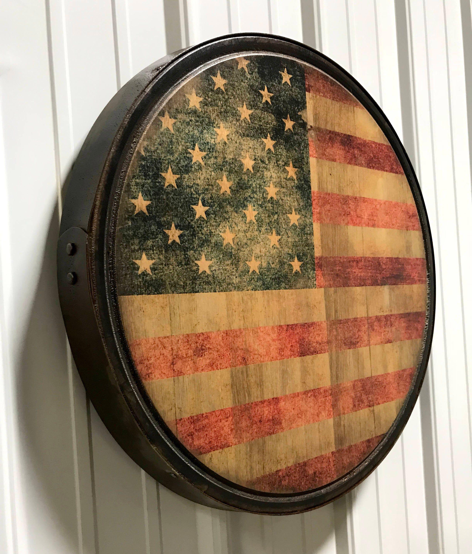 American Flag Hoop Head Wood Sign framed with a steel