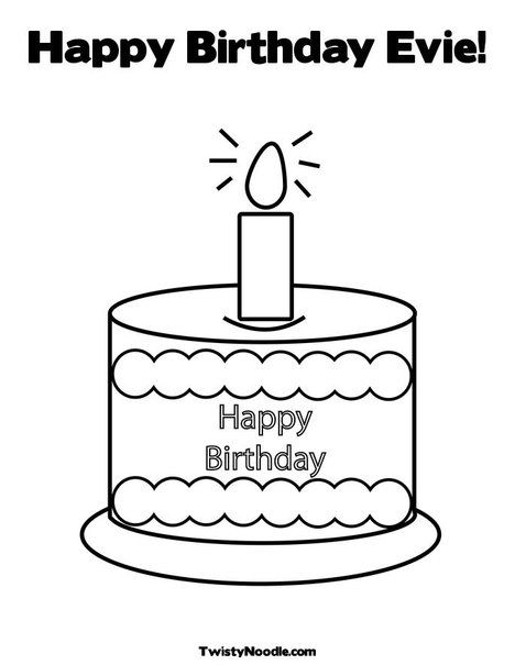Happy Birthday Evie Coloring Page from TwistyNoodlecom Party