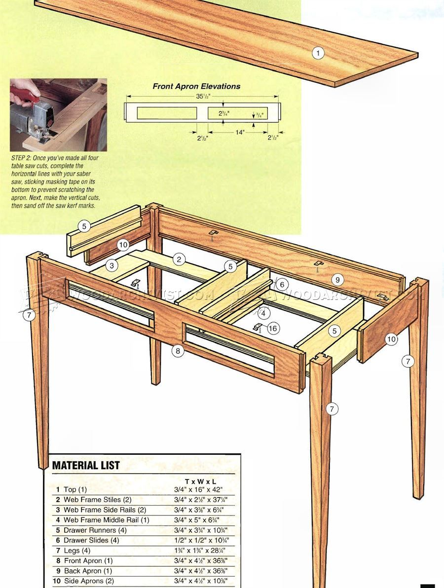 2599 Shaker Hall Table Plans Furniture Plans Woodworking