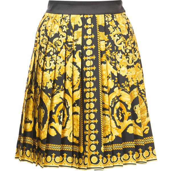 1e05d968b Versace Signature print skirt ($1,095) ❤ liked on Polyvore featuring skirts,  yellow pleated skirt, patterned skirts, silk skirts, short pleated skirt  and ...