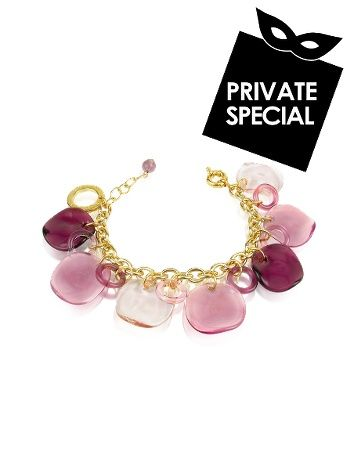 Antica Murrina Shiva - Murano Glass Charm Bracelet Secret 50% OFF Special not accessible from our public site. Use code: PLATINUM CODE. Limited time only. Age-old craftsmanship meets modern design for Antica Murrina`s Shiva bracelet showcasing striking hand-molded disc and hoop charms dangling from an elegant gold-tone chain for a contemporary bohemian feel. Signature gift box included Made in Italy. $126.00