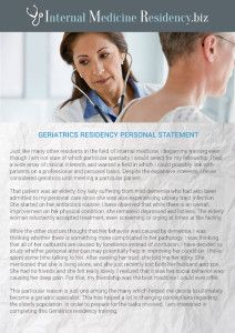 Geriatrics Residency Personal Statement Sample  Internal Medical