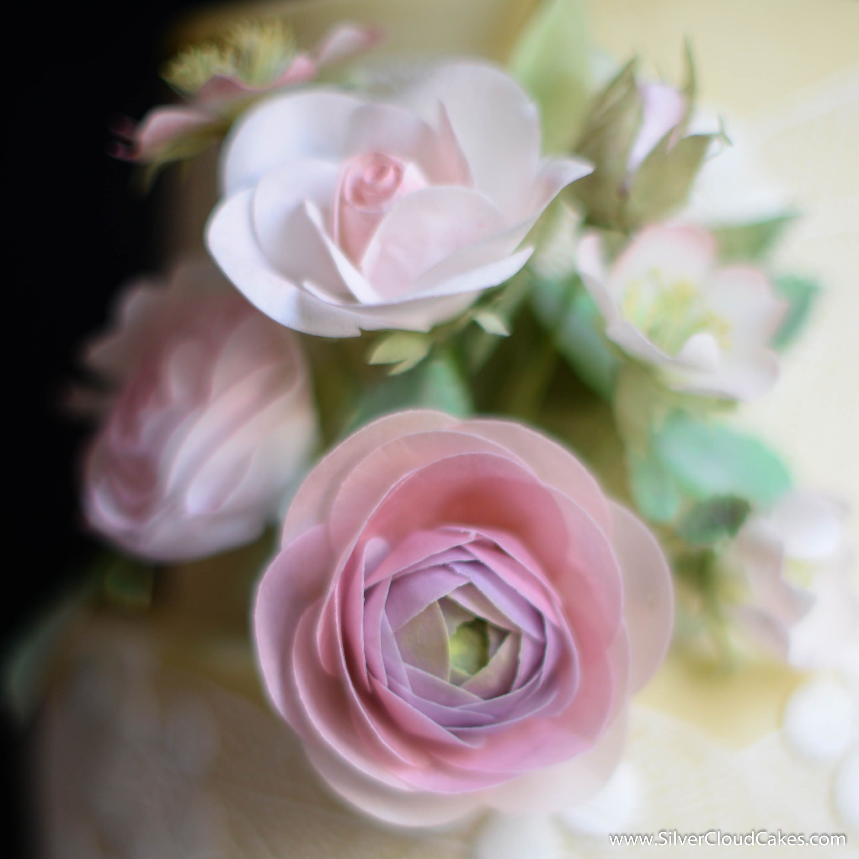 Handcrafted Edible Wafer Paper Flowers For A Wedding Cake Silver