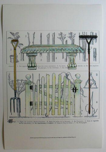 $29.50  French Botanical Gardening ART Print Garden Bench BY Ginny Joyner | eBay #gardening #tools #art