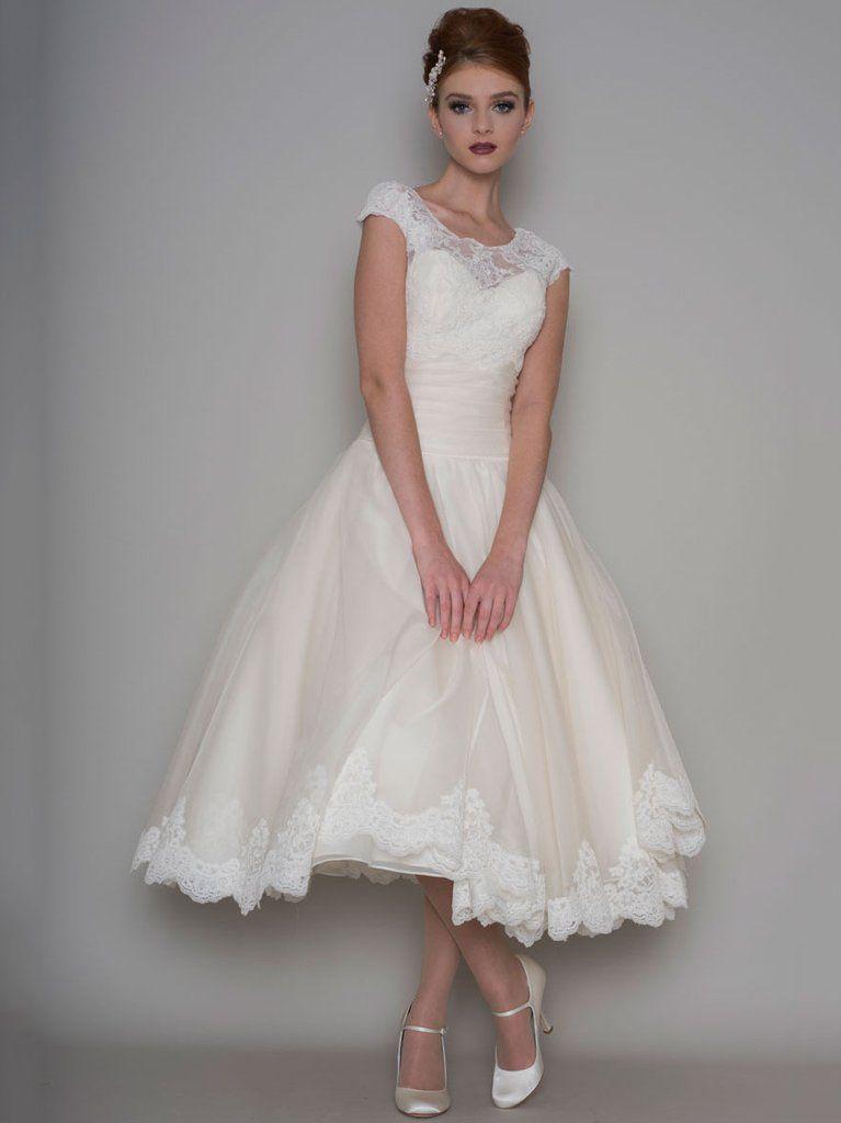 Tea-Length A-Line Scoop Neck Appliqued Cap Sleeve Tulle Wedding Dress-MK_705313