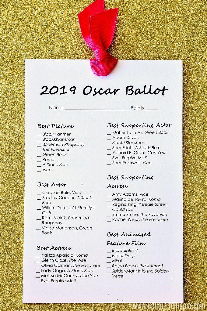 Free Printable 2019 Oscar Ballot #academyaward
