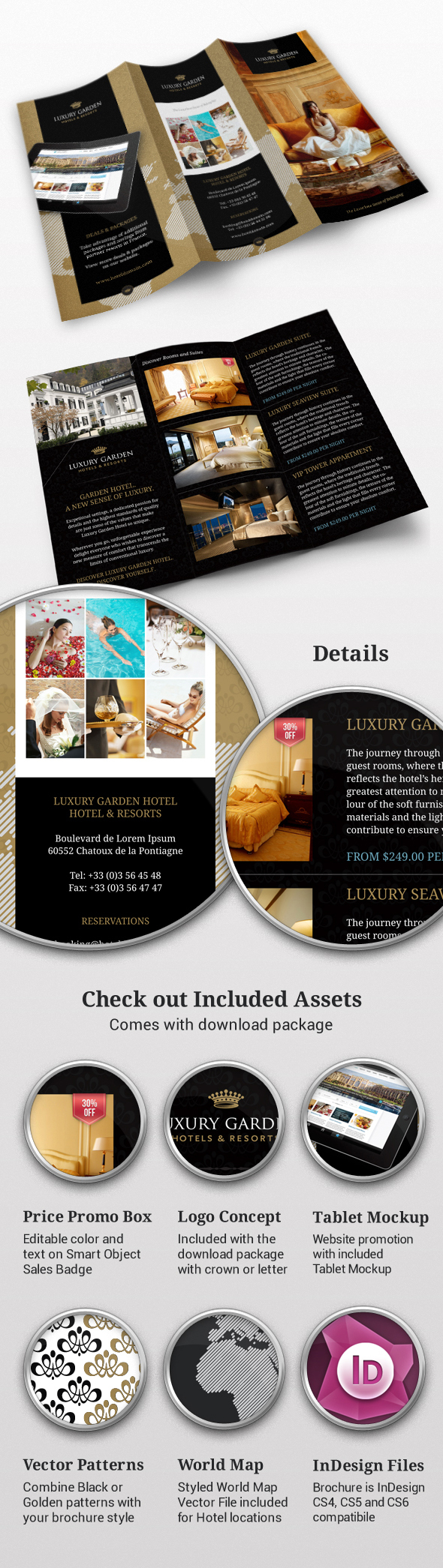 TriFold Contemporary Hotel Indesign Brochure On Behance