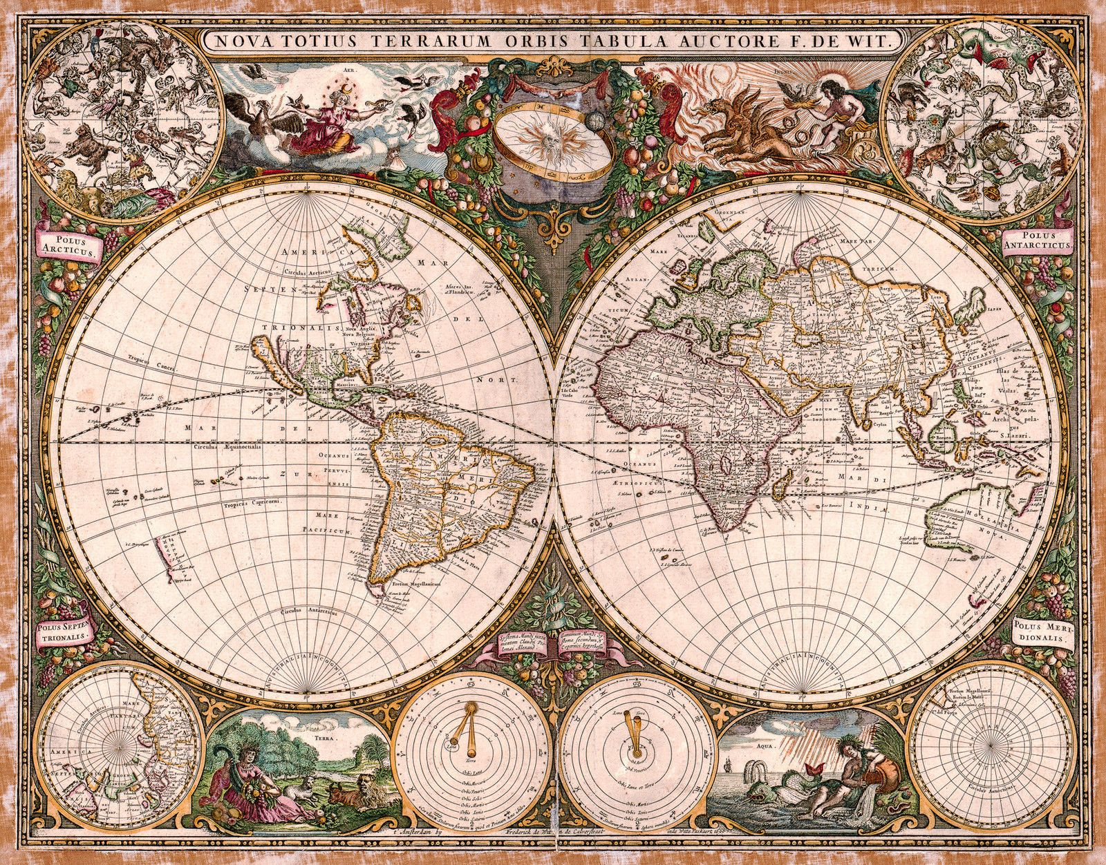 Antique world map old vintage map 1660 fade resistant hd art antique world map old vintage map 1660 fade resistant hd art print or gumiabroncs Images