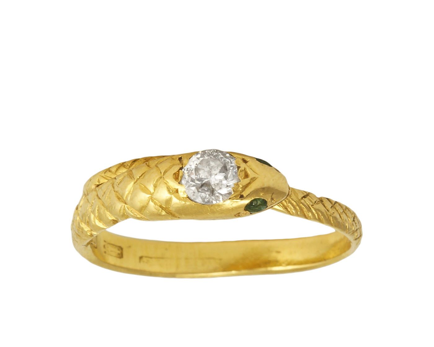 Antique Georgian Diamond & Emerald Snake Ring in 22ct Gold, c1834 by ButterLaneAntiques on Etsy https://www.etsy.com/listing/281042120/antique-georgian-diamond-emerald-snake
