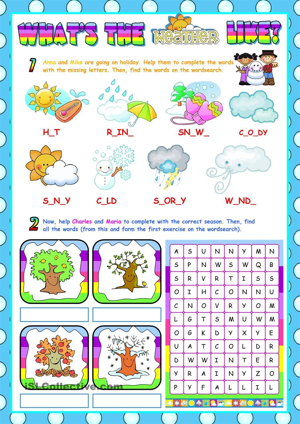 The Weather (for beginners) (RE-UPLOADED) worksheet - Free ESL printable  worksheets made by teachers