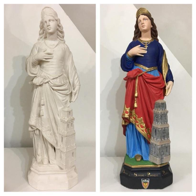 Mise En Couleur DUne Statue En Pltre De Sainte Barbe Peinture