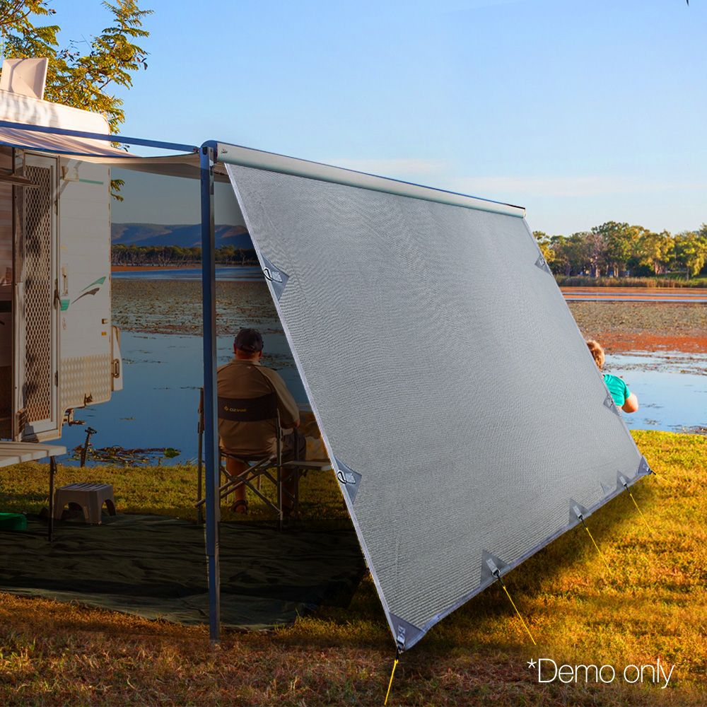 The privacy screen attaches easily to your caravan awning ...