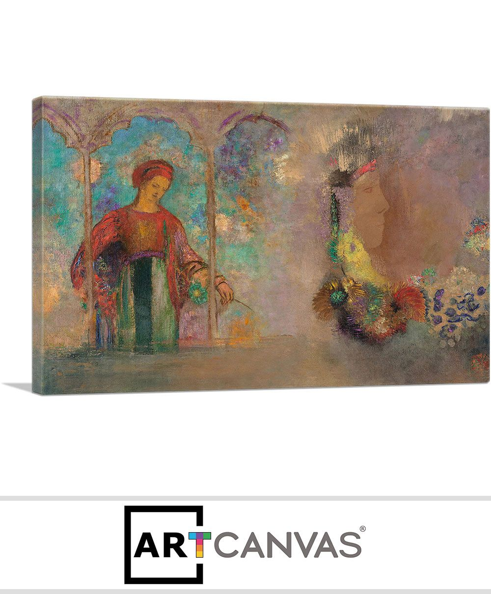 Woman In A Gothic Arcade Woman With Flowers 1905 Canvas Art