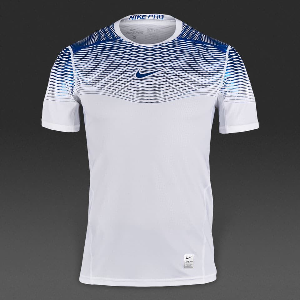grueso entregar elemento  Camiseta Nike Hypercool Max ajustada-Blanco/Azul metalizado | Sports  shirts, Football dress, Posh clothing